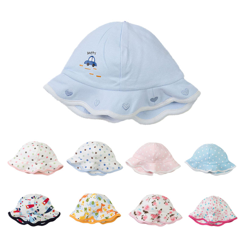 Soft Cotton Baby Hat for Newborn Sun Hat Infant Baby Beanie Car Floral Print Boys Girls Bucket Hat Zoo Dot 0-3Y