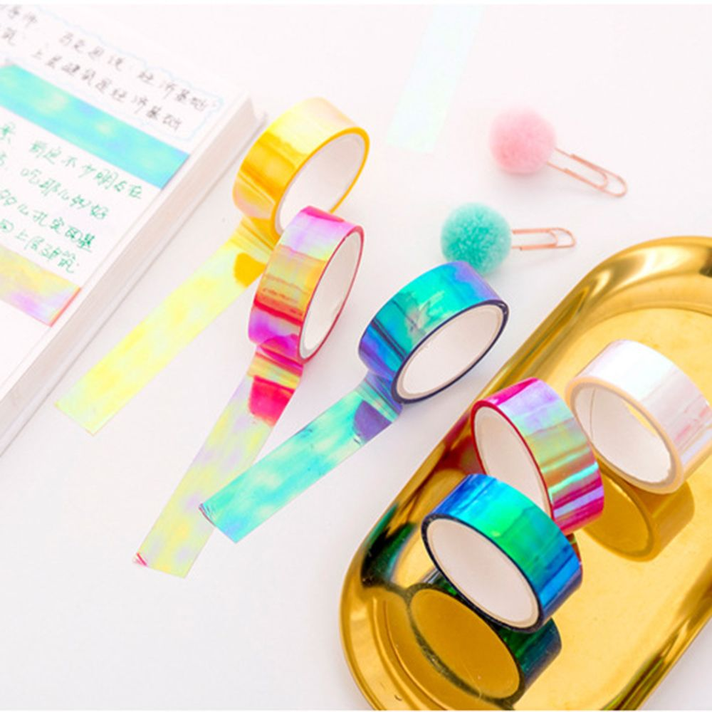 Glitter Rainbow Laser Washi Tape Stationery Scrapbooking Decorative Adhesive Tapes DIY Masking Tape School Supplies