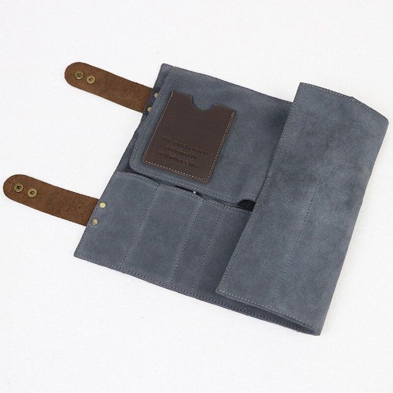 12 Pockets Real Leather Hair Stylist Professional Barber Scissor Pouch Cases Salon Hairdresser Scissors Tool Holster Folding Bag