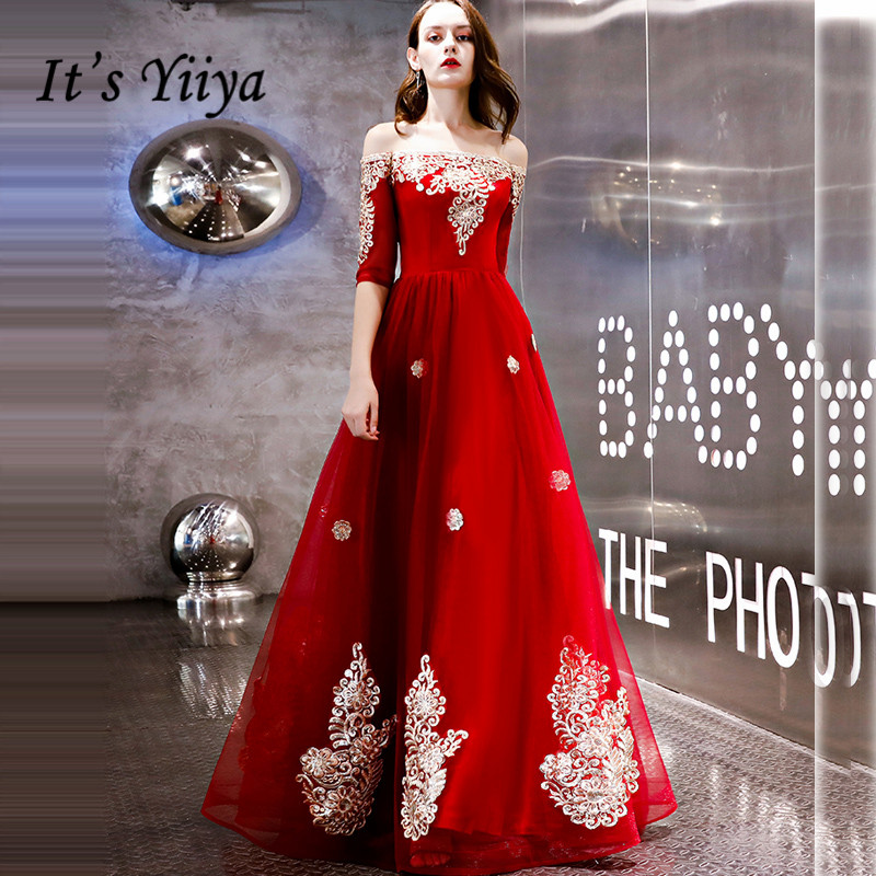 It's YiiYa Evening Dress 2018 Vintage Red Gold Lace Embroidery Beading Boat Neck A-line Dinner Gowns LX1287 Robe De Soiree
