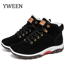 YWEEN New Men Boots for Winter Snow Warm Fur&Plush Lace Up High Top Fashion Shoes Sneakers