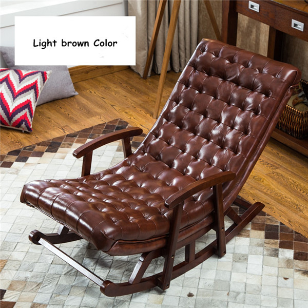 Modern Leatheru0026Wood Rocking Lounge Chair Armchair Living Room Bedroom  Furniture Comfortable Relax Rocker Chair  In Living Room Chairs From  Furniture On ...
