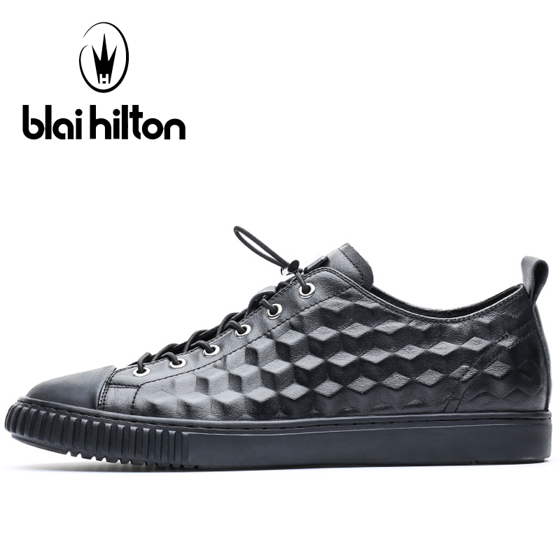Blaibilton Genuine Leather Skateboarding Shoes For Men Flat Lace Up Men's Sneakers 2017 Summer Breathable Sport Shoes Man Brand