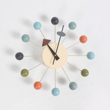 12Inch Nordic Colorful Luxury Home Decorative DIY Wooden Balls Wall Clocks Modern Clock Circular Oversized Gifts Crafts