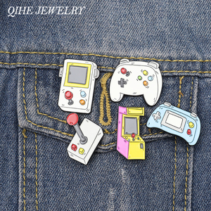 QIHE JEWELRY Arcade Enamel Pin Tabletop Bartop Game Lapel Pins Retro Video Game Badges Console Controller Gameboy Gifts
