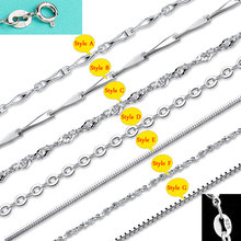 Chain Necklace with Lobster Clasps fit Men Women Pendant 7 Designs 16-18 Inch Big Promotion! 100% Authentic 925 Sterling Silver
