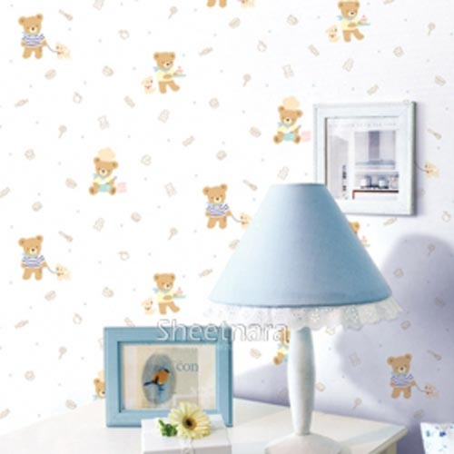 PVC adhesive wallpaper wall stickers children bedroom room environmental protection waterproof cute cartoon stickers teddy bear 10m 45cm pvc blue sky white clouds self adhesive waterproof wallpaper bedroom children room sitting room cartoon wall stickers