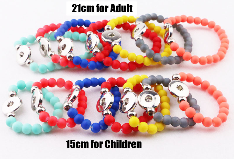 10sets 20pcs hot sale kids 18mm snap button bracelets colorful 8mm beads elastic bracelets for mother