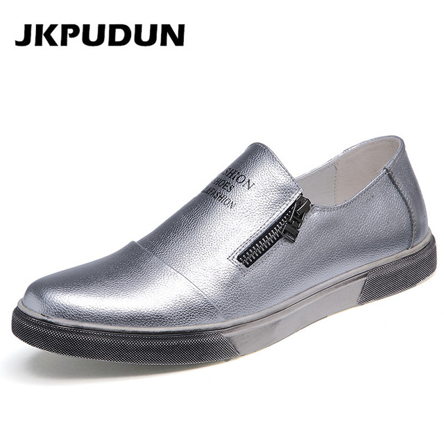 db3394b27ed 2016 New Fashion Men Driving Silver Shoes Men Handmade Cowhide Leather  Flats Luxury Brand Breathable Leisure Side Zipper Loafers