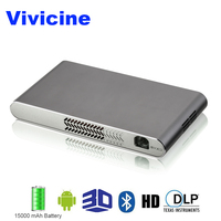 Vivicine Mini Wifi 3D Projector,Built in 15000 mAh battery HDMI USB PC Full HD Home Video Projectors 1080p Android Beamer