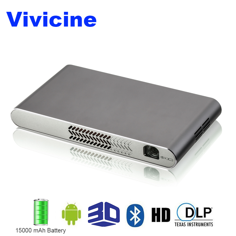Vivicine Mini Wifi 3D proyector, incorporado 15000 mAh batería HDMI USB PC Full HD Home Video proyectores 1080 p Android proyector