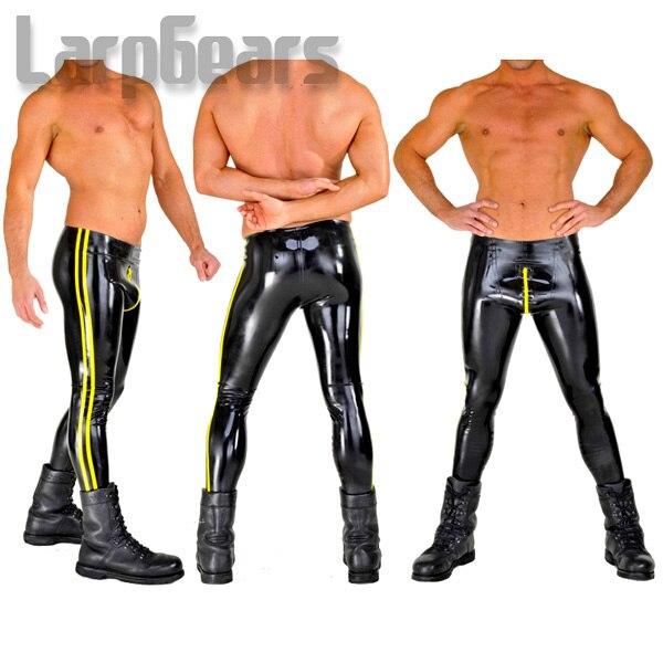 Noir avec Jaune Latex Serré Pantalon Fermeture À Glissière Avant Haute Quatilty Leggings En Latex de Caoutchouc Longue Culottes Pour Hommes