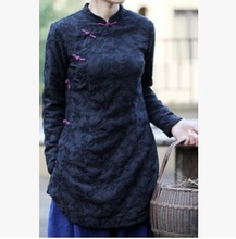 New product release in the fall of 2015, the original design 100% cotton linen loose big yards of jacquard women's shirt