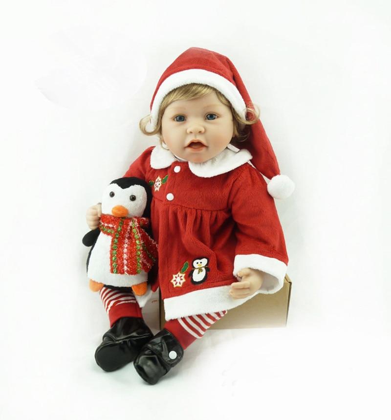 2016 Lifelike 22Inch 55cm Silicone Reborn Baby Dolls Bonecas Handmade Realistic Christmas Doll Bebe Reborn Brinquedos Juguetes