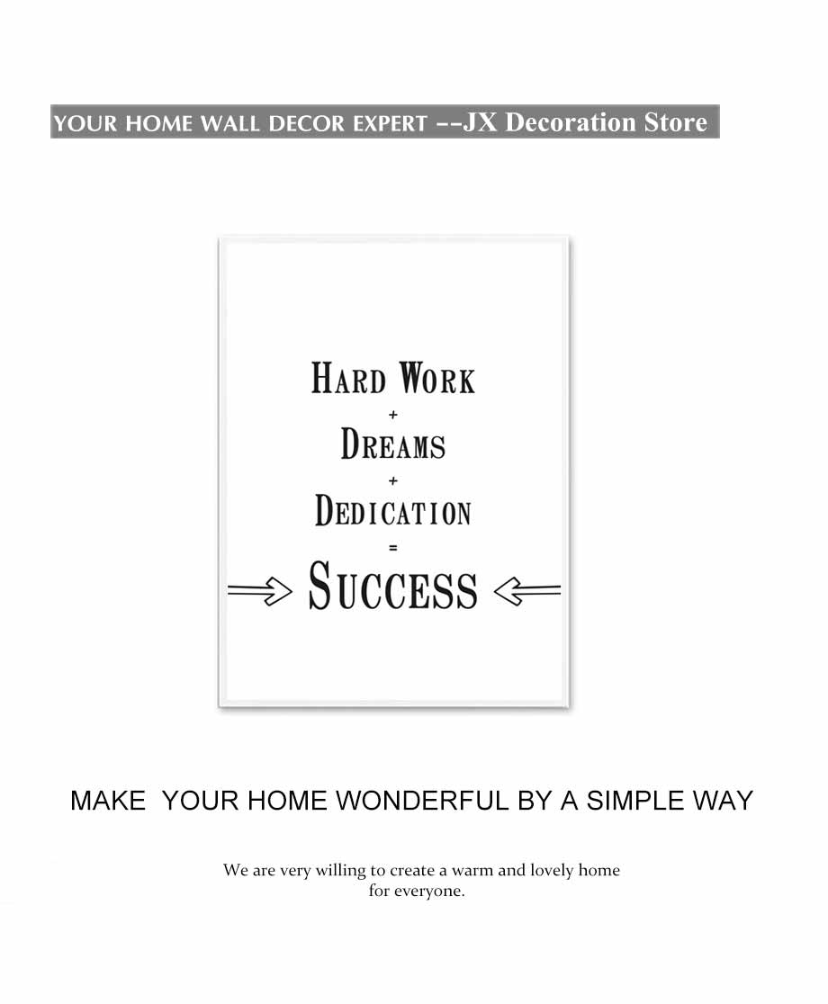 Success Is Hard Work+Dream+Dedication Nordic Poster Minimalist Canvas Painting Modern Wall Art Picture For Bedroom,Home Decorati (2)