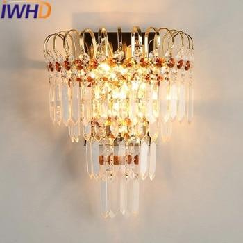 IWHD Bedroom LED Wall Lamp Modern Fashion Gold Iron Sconce Wall Light Home Lighting Stairs Living Room Arandela Wandlamp