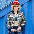 2016 new European winter camouflage personality short down jacket slim female baseball down coat tide