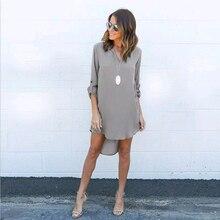 Women Long Sleeve Dress Casual Shirt Waist Loose Chiffon Dress