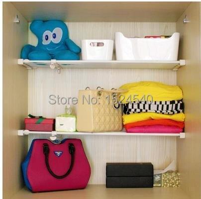 80cm Kitchen Bathroom Adjustable Storage Holders Clothes Cabinet Hanging  Shelf Underslung Free Install Single Non Fold Rack