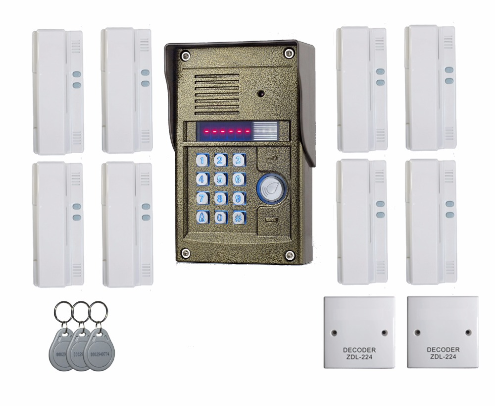 Easy installation audio door phone intercom system for 8 apartment,TM oudoor panel,ID card&Password Unlock ZHUDELE 327R System