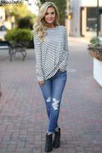 Summer Women Tops long sleeve Autumn spring style high quality lady tops fashion stripe print hotsale clothes casual