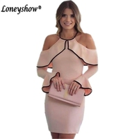 Loneyshow Elegant Ladies Summer Pink Halter Party Dresses For Special Occasion 2017 New Fashion Ruffles Sexy