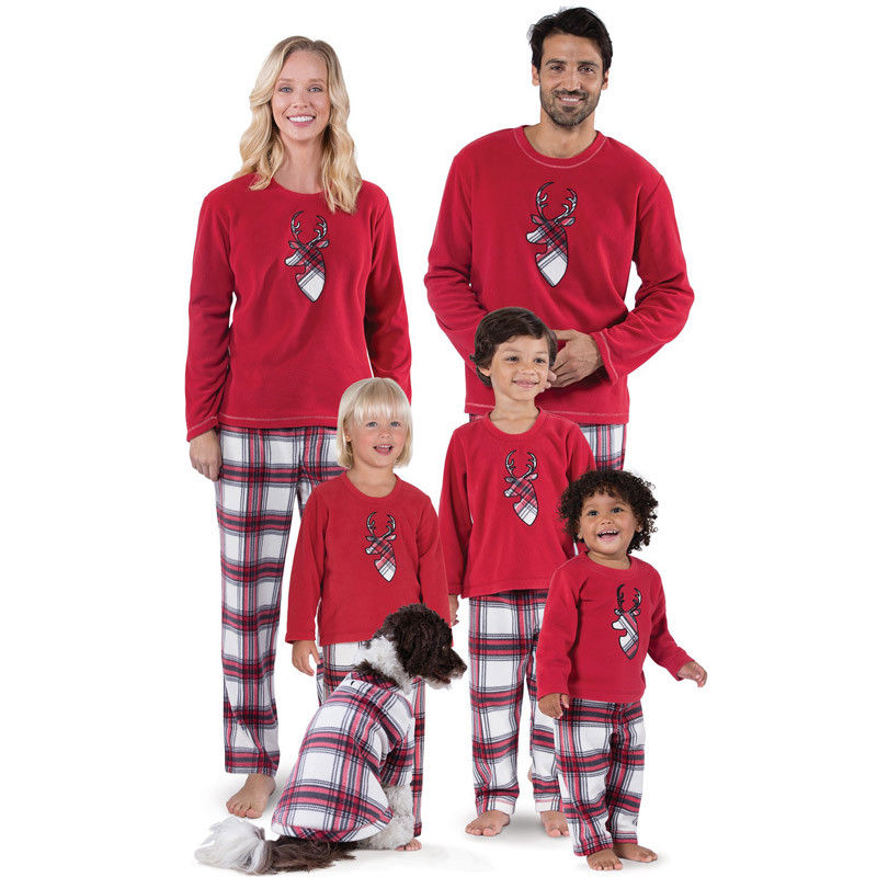 Winter Warm Family Matching Christmas Pajamas Set Women Baby Kids Bottom Striped Deer Printing Tops T Shirt Sleepwear