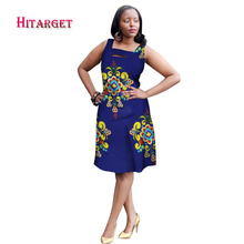 New African Dresses for Women Bazin Riche 2017 Fashion Sleeveless A-line Dashiki Kanga Ankara Clothes WY1541