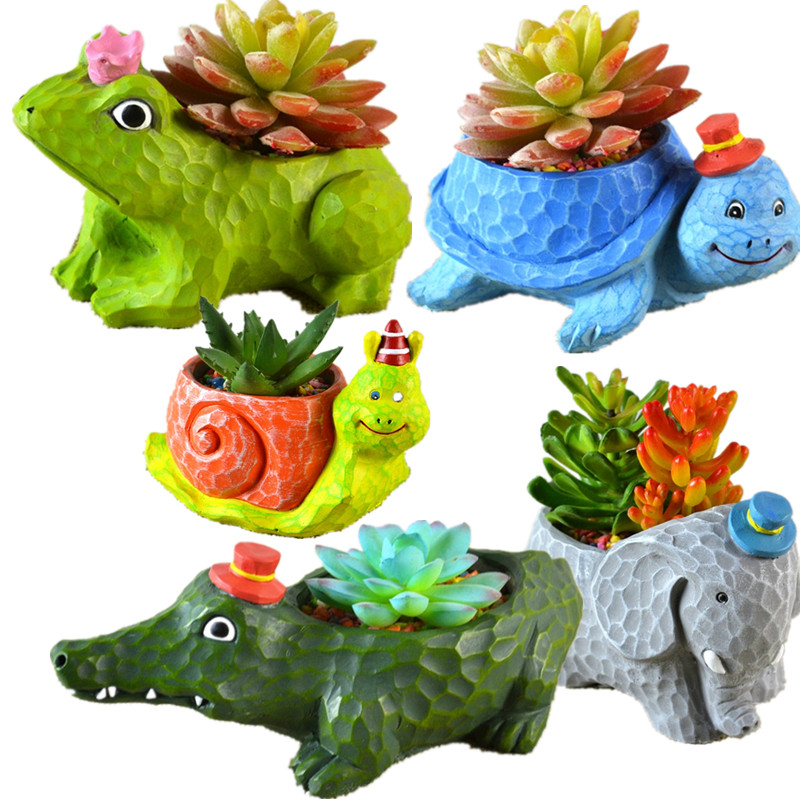 1PC Planter Animal pots Resin Flowerpot Garden Decoration Succulent Bonsai Plants Flower Pot for child gift