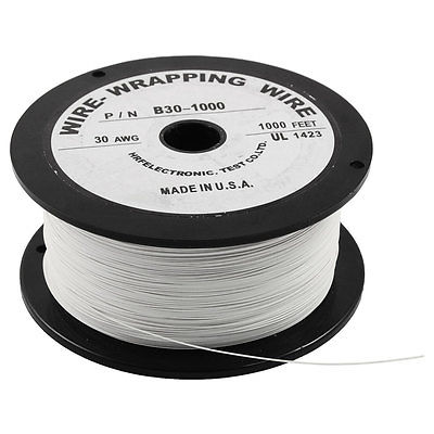 305M 30AWG Tin Plated Copper Wire Insulation Electronic Test Cable Roll White new 30awg 0 25mm tin plated copper wire wrapping insulation test cable 8 colored wrap reel tin plated copper plastic