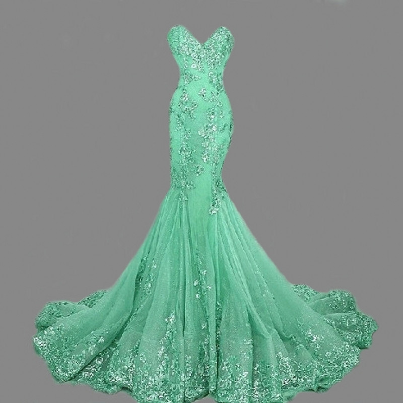 Mermaid   Prom     Dress   Long Women Green Gold Sequined Applique sweetheart Elegant Evening Gown Robe de Soiree 2019