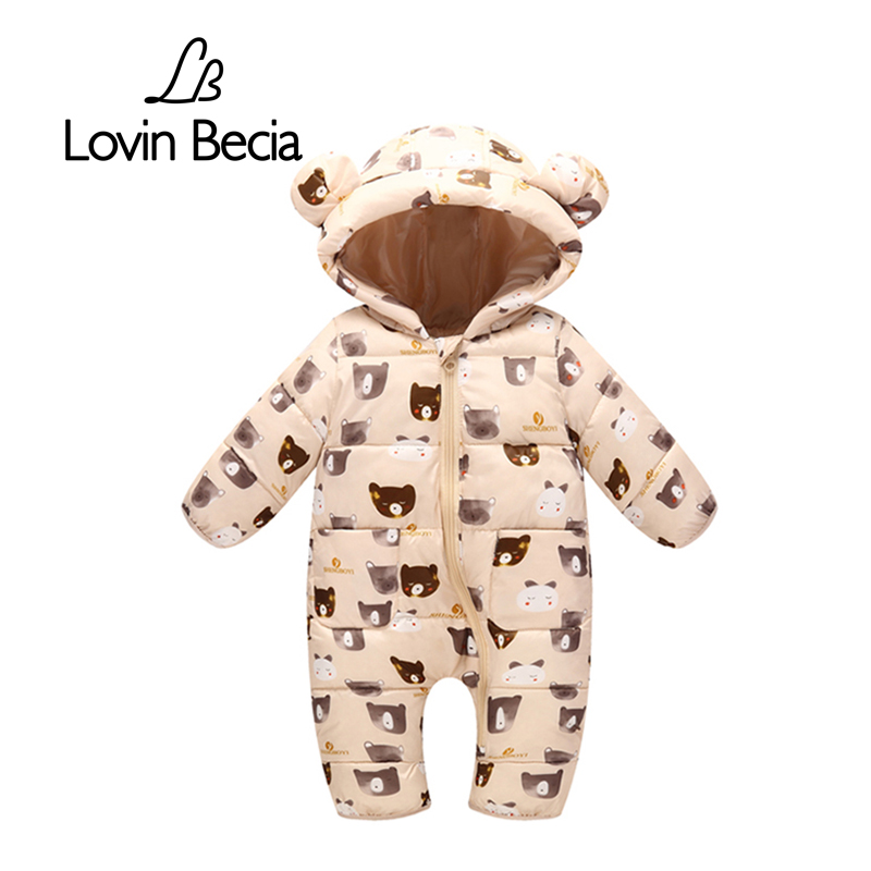 Lovinbecia Newborn Baby girls   Rompers   Autumn Winter Warm Toddler Hooded Jumpsuit Kids Outwear boys feathers cotton Clothing suit
