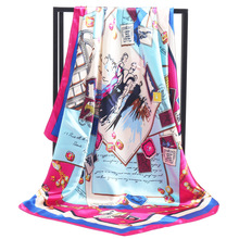 New Arrival Fashion Women soft satin scarf / postcard Printed quare brand silk scarves 90cm Gifts Wholesale