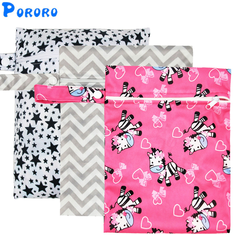 Waterproof Reusable Wet Bag Printed Pocket Nappy Bags PUL Travel Wet Dry Bags Mini Size 25x20cm Diaper Bag(China)