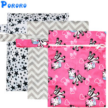 Waterproof Reusable Wet Bag Printed Pocket Nappy Bags PUL Travel Wet Dry Bags Mini Size 25x20cm Diaper Bag цены