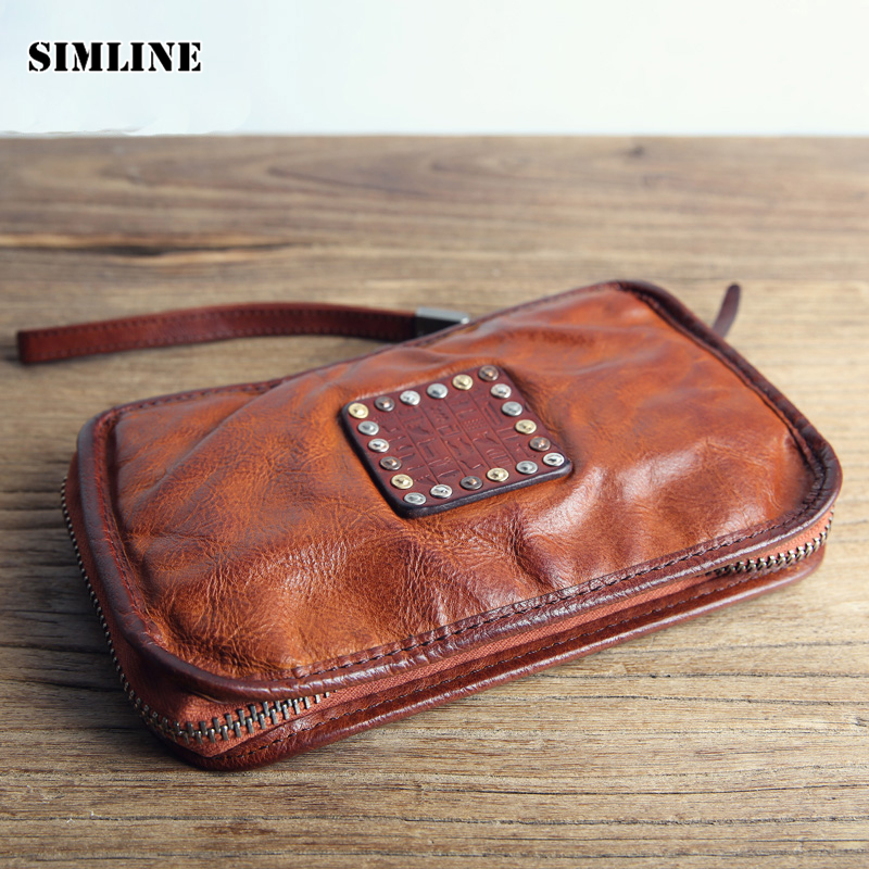 Luxury Brand Vintage Handmade Genuine Cow Leather Men Wallet Male Long Zipper Purse Phone Wallets Card Holder Clutch Bag Bags luxury brand vintage handmade genuine vegetable tanned cow leather men women long zipper wallet purse wallets clutch bag for man
