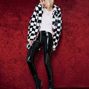Image 3 - 2019  Women Sexy Shiny PU Leather Leggings with Back Zipper Push Up Faux Leather Pants Latex Rubber Pants Jeggings Black Red