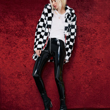 Shiny Zipper Leather Leggings