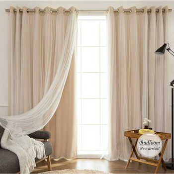 Korean Style Solid Modern Curtain Tulle Window Set Of Mint Pink Beige Blackout Sheer Curtain For Living Room Bedroom - DISCOUNT ITEM  30% OFF Home & Garden