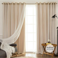 Korean Style Solid Modern Curtain Tulle Window Set Of Mint Pink Beige Blackout Sheer Curtain For Living Room Bedroom