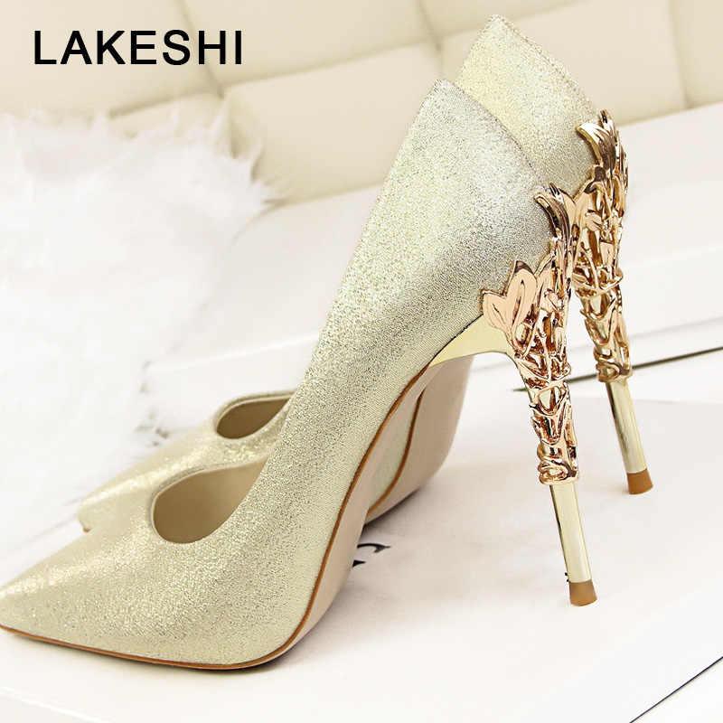 8c7ec1ecb809c LAKESHI Sexy High Heels Shoes Woman Fashion Women Pumps Wedding Shoes Red  Bling Gold Shoes Famale