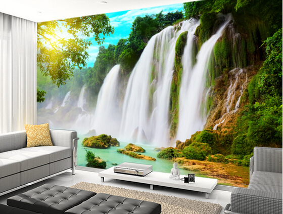 Encargo de la foto de paisaje papel pintado cascada 3d papel tapiz para sala de estar cocina - Papel pintado paisajes ...