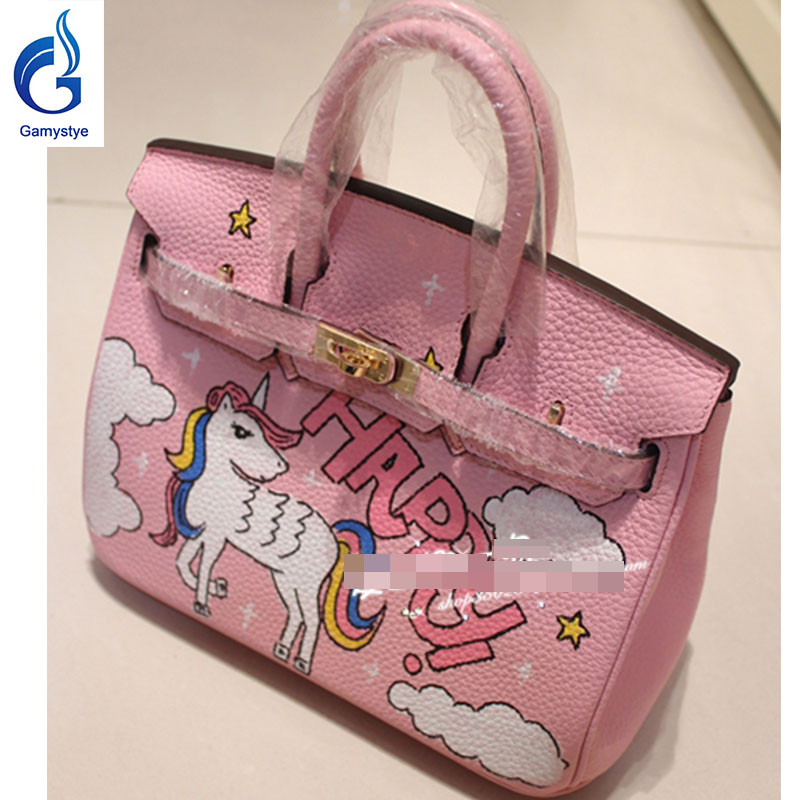 Happy horse handbags Genuine Leather women famous Messenger Bag Hand Painted Custom painting ladies totes handle clutch YG
