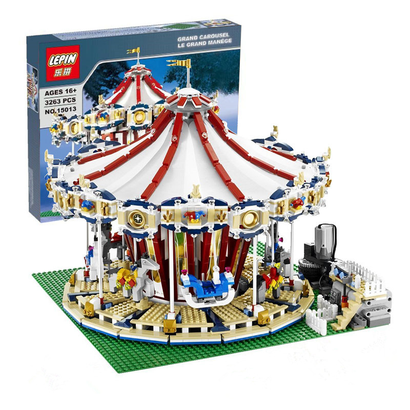 IN STOCK With Motor LEPIN 15013 3263Pcs City  Expert Grand Carousel Model Building Kits Blocks Brick Compatible Toy 10196 lepin 15013 city sreet carousel model building kits blocks toy compatible 10196 with funny children educational lovely gift toys