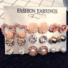 9 Pair/Set earings fashion jewelry Flower Crystal Simluated Stud Earrings Shiny Lot of Earrings For Women Wholesale earrings set pair of chic snowman christmas earrings jewelry for women