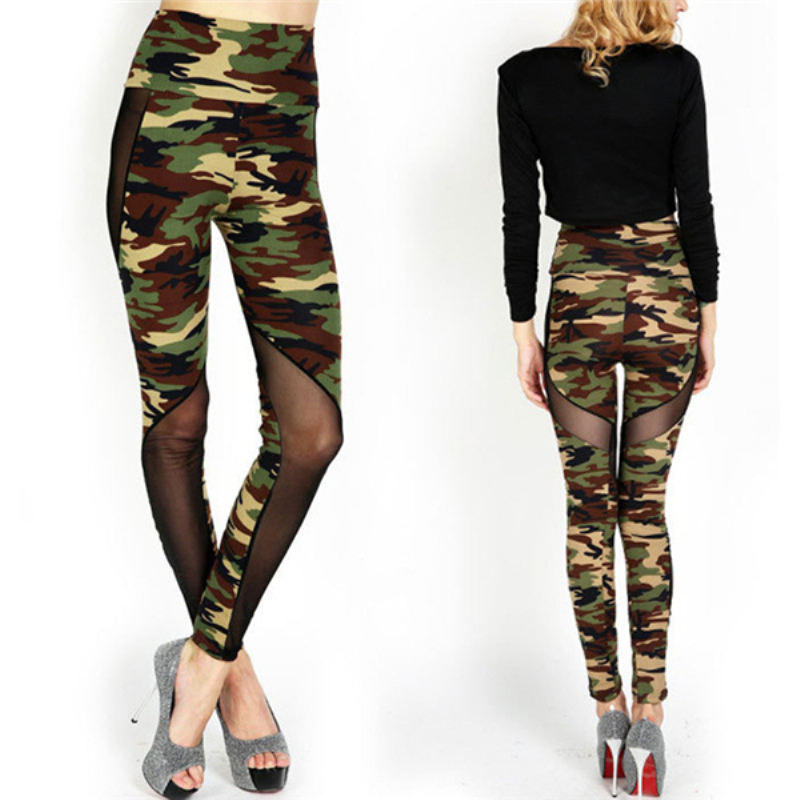 Women Sexy 2017 Mesh Camouflage Pants  High Waist Patchwork Stretchy Slim Army Camo Leggings Female Trousers