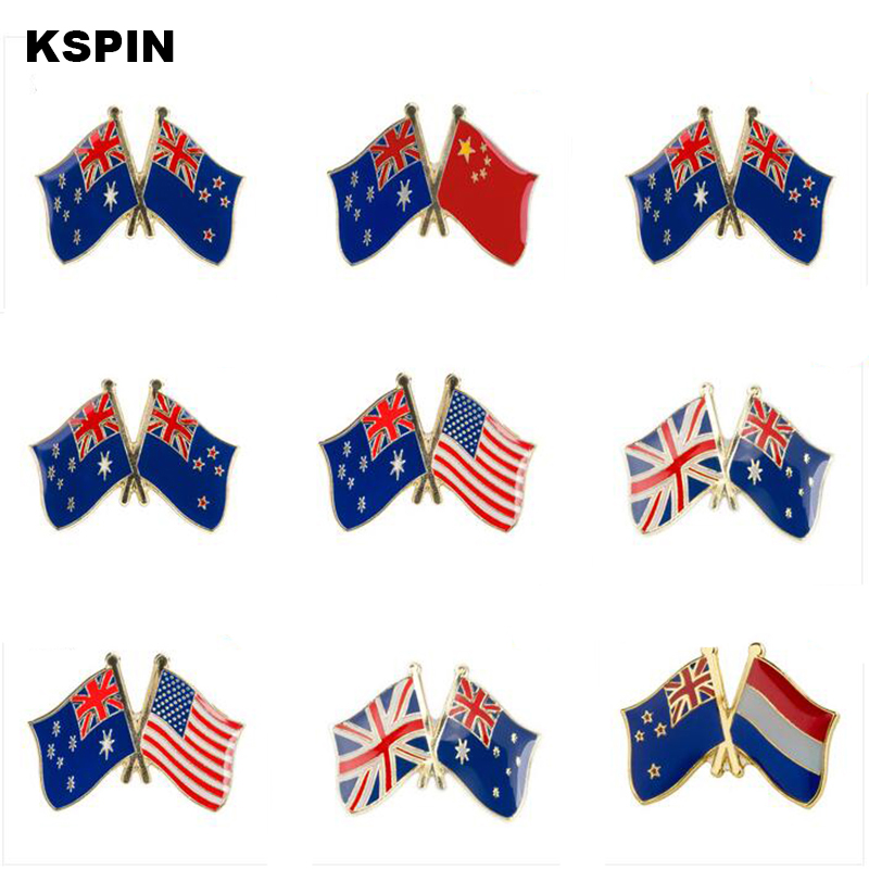Arts,crafts & Sewing Badges Learned Metal Badge Australia Friendship Flag Icons Bag Decoration Buttons Brooch For Clothes To Assure Years Of Trouble-Free Service