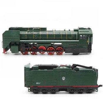 Tren de vapor, locomotora diésel, modelo de aleación de un tamaño, coches de juguete, luz de sonido extraíble, modelo de juguetes para niños