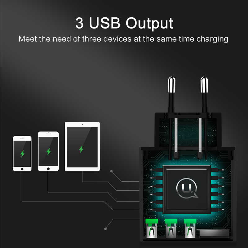 USAMS 3 Port USB Ponsel Charger LED Display Uni Eropa Plug Total Max 3A Smart Fast Charger Ponsel Charger Dinding untuk iphone Ipad Samsung