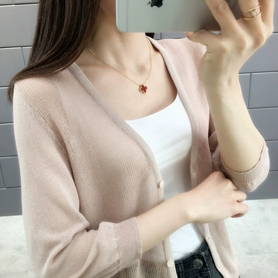 2019 New spring and summer summer female knit iced silk v-neck cardigan jacket with semi-permeable